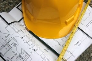 hard hat with a building floor plan